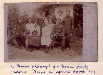 A German photograph of a German family gathering. Found in captured dugout 1917